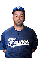 18 September 2012: Jamel Boutagra poses prior to Team France practice, at the 2012 World Baseball Classic Qualifier round, in Jupiter, Florida, USA.