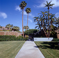 The low-lying property is dwarfed by tall palm trees in the garden