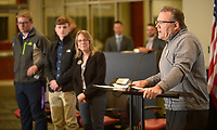 NWA Democrat-Gazette/ANDY SHUPE<br /> Rick Neal, superintendent of the Pea Ridge School District, speaks Thursday, Feb. 8, 2018, alongside Pea Ridge High School students Brett Kirby and Hunter White and teacher Cathy Segur, during the NWA Education Forum at the Don Tyson School of Innovation in Springdale. Kirby and White are employed by J.B. Hunt Transport through a program at the school facilitated by Segur. Representatives from the Springdale, Fayetteville, Bentonville, Siloam Springs and Pea Ridge school districts presented information about innovations and successes in their districts.