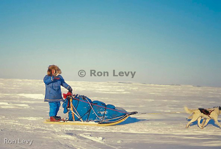 "Joe Redington ""Father of the Iditarod"" on Bering Sea near Nome, 1988, Alaska"