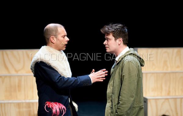 "Theatre company Compagnie Schmaltz playing ""Hamlet"", directed by Tom Slosse in the serie Amateurtoneelhuis in Antwerp (Belgium, 10/04/2014)"