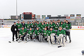 Notre Dame Fighting Irish of Batavia team photo after a varsity ice hockey game against the Brockport Blue Devils during the Section V Rivalry portion of the Frozen Frontier outdoor hockey event at Frontier Field on December 22, 2013 in Rochester, New York.  (Copyright Mike Janes Photography)