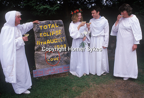 Ed and Glyniss Prynn in their megalithic garden Perform Druid wedding total eclipse of sun 11th August Padstow Cornwall