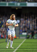Ross Batty of Bath Rugby looks to throw into a lineout. European Rugby Champions Cup quarter final, between Leinster Rugby and Bath Rugby on April 4, 2015 at the Aviva Stadium in Dublin, Republic of Ireland. Photo by: Patrick Khachfe / Onside Images