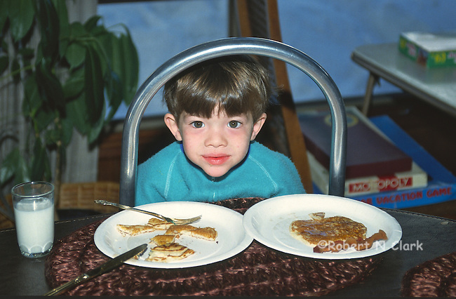 Boy with breakfast