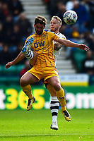 Preston North End's Tom Clarke tangles with Wigan Athletic's Will Grigg<br /> <br /> Photographer Richard Martin-Roberts/CameraSport<br /> <br /> The EFL Sky Bet Championship - Preston North End v Wigan Athletic - Saturday 6th October 2018 - Deepdale Stadium - Preston<br /> <br /> World Copyright &not;&copy; 2018 CameraSport. All rights reserved. 43 Linden Ave. Countesthorpe. Leicester. England. LE8 5PG - Tel: +44 (0) 116 277 4147 - admin@camerasport.com - www.camerasport.com