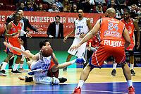 GRONINGEN -  Basketbal, Donar - New Heroes Den Bosch, Martiniplaza, Dutch Basketbal League, seizoen 2018-2019,  26-01-2019, Donar speler Arvin Slagter veroverd liggend de bal