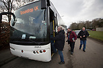 Spartans 1 University of Stirling 0, 12/03/2016. Ainslie Park, Scottish Lowland League. 'Groundhoppers' boarding one of their specially-chartered buses before leaving for the Spartans versus University of Stirling Scottish Lowland League match at Ainslie Park, Edinburgh. The match was one of six attended by members of GroundhopUK over the weekend to accommodate groundhoppers, fans who attempt to visit as many football venues as possible. Around 100 fans in two coaches from England participated in the 2016 Lowland League Groundhop and they were joined by other individuals from across the UK which helped boost crowds at the six featured matches. Photo by Colin McPherson