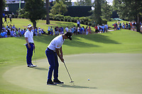 Adam Scott (AUS) putts on the 18th green during Friday's Round 2 of the 2017 PGA Championship held at Quail Hollow Golf Club, Charlotte, North Carolina, USA. 11th August 2017.<br /> Picture: Eoin Clarke | Golffile<br /> <br /> <br /> All photos usage must carry mandatory copyright credit (&copy; Golffile | Eoin Clarke)