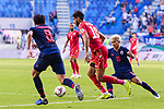 Abdulla Yusuf Helal of Bahrain (C) competes for the ball with Chanathip Songkrasin of Thailand (R) during the AFC Asian Cup UAE 2019 Group A match between Bahrain (BHR) and Thailand (THA) at Al Maktoum Stadium on 10 January 2019 in Dubai, United Arab Emirates. Photo by Marcio Rodrigo Machado / Power Sport Images