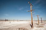 Utility poles at a former lake-shore resort (spa) at the southern end of the Salton Sea, Salton Sea, Calif.