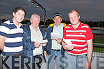 PROGRAMME: Marking their books on Friday evening at the Kingdom Greyhouind Stadium,Tralee L-r: Colin Maginer (Tralee), Tom Hegarty (Lisselton), Tom O'Connor (Tarbert) and Stephen O'Carroll (Lisselton)..