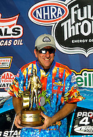Sept. 6, 2010; Clermont, IN, USA; NHRA pro stock driver Greg Stanfield celebrates after winning the U.S. Nationals at O'Reilly Raceway Park at Indianapolis. Mandatory Credit: Mark J. Rebilas-