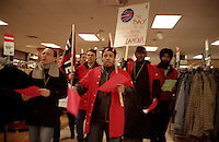 March 15, 2004  Montreal, Quebec, Canada.<br /> <br /> Cllothing and Textile Union  (SVTI-FTQ)  members protest in montreal La Baie store against Tricots Lamour  (CCM and  Wilson lingerie product), a company that is stopping it's 400 employees from joining the union.<br /> <br /> Mandatory Credit: Photo by  Liam Maloney - Images Distribution. (©) Copyright 2004 by Liam Maloney