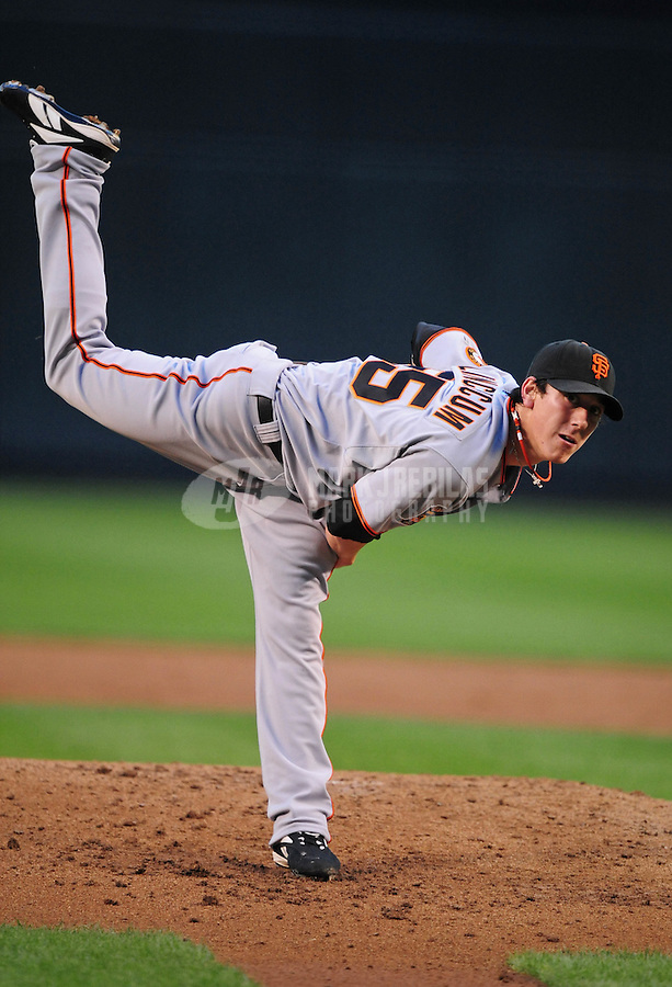 May 27, 2008; Phoenix, AZ, USA; San Francisco Giants pitcher Tim Lincecum pitches against the Arizona Diamondbacks at Chase Field. Mandatory Credit: Mark J. Rebilas-