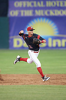 Batavia Muckdogs shortstop Micah Brown (55) throws to first base for the out during a game against the West Virginia Black Bears on June 26, 2017 at Dwyer Stadium in Batavia, New York.  Batavia defeated West Virginia 1-0 in ten innings.  (Mike Janes/Four Seam Images)