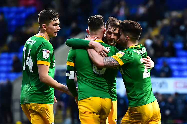 Preston North End's Tom Barkhuizen celebrates scoring his side's second goal with his team-mates<br /> <br /> Photographer Richard Martin-Roberts/CameraSport<br /> <br /> The EFL Sky Bet Championship - Bolton Wanderers v Preston North End - Saturday 9th February 2019 - University of Bolton Stadium - Bolton<br /> <br /> World Copyright &copy; 2019 CameraSport. All rights reserved. 43 Linden Ave. Countesthorpe. Leicester. England. LE8 5PG - Tel: +44 (0) 116 277 4147 - admin@camerasport.com - www.camerasport.com