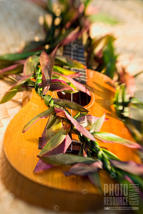 Ukulele with a lei