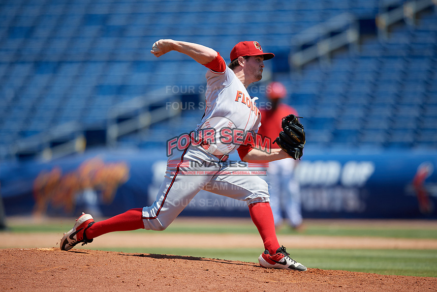Florida Fire Frogs relief pitcher Sean McLaughlin (13) during a Florida State League game against the Clearwater Threshers on April 24, 2019 at Spectrum Field in Clearwater, Florida.  Clearwater defeated Florida 13-1.  (Mike Janes/Four Seam Images)