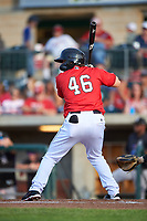 Billings Mustangs Valentin Martinez (46) at bat during a Pioneer League game against the Grand Junction Rockies at Dehler Park on August 15, 2019 in Billings, Montana. Billings defeated Grand Junction 11-2. (Zachary Lucy/Four Seam Images)