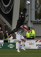 Efe Ambrose climbs over Lewis Guy in the St Mirren v Celtic Clydesdale Bank Scottish Premier League match played at St Mirren Park, Paisley on 20.10.12.