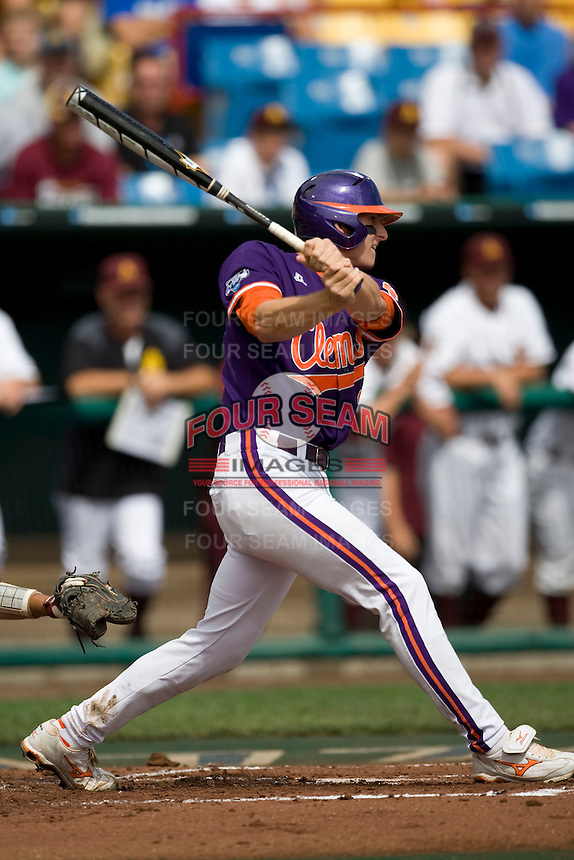 Clemson's Brad Miller in Game 4 of the NCAA Division One Men's College World Series on Monday June 21st, 2010 at Johnny Rosenblatt Stadium in Omaha, Nebraska.  (Photo by Andrew Woolley / Four Seam Images)