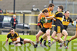 Stacks Conor Jordan and Croke's Brian Looney contest the loose ball in midfield during their Div 1 County League game in Connolly Park on Sunday