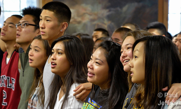 Participants sing during worship at the 2013 Asian American Camp for United Methodist youth in the west of the United States. The camp was held at Camp Sierra in Big Creek, California.