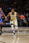 Madison Jones (1) of the Wake Forest Demon Deacons brings the ball up the court during first half action against the UNC Asheville Bulldogs at the LJVM Coliseum on November 14, 2014 in Winston-Salem, North Carolina.  The Demon Deacons defeated the Bulldogs 80-69  (Brian Westerholt/Sports On Film)