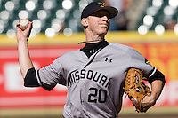 Missouri TIger Jeff Emens against the TCU Horned Frogs on Friday March 5th, 2100 at the Astros College Classic in Houston's Minute Maid Park.  (Photo by Andrew Woolley / Four Seam Images)
