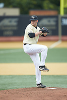 Wake Forest Demon Deacons starting pitcher Jared Shuster (41) in action against the Miami Hurricanes at David F. Couch Ballpark on May 11, 2019 in  Winston-Salem, North Carolina. The Hurricanes defeated the Demon Deacons 8-4. (Brian Westerholt/Four Seam Images)