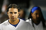 LOS ANGELES, CA. - September 02: Andre Ethier of the Los Angeles Dodgers  in the Dodger dugout before the ceremonial first pitch at Dodger Stadium in Los Angeles, California on September 2, 2009.
