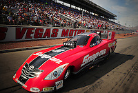 Mar. 30, 2012; Las Vegas, NV, USA: NHRA funny car driver Cruz Pedregon during qualifying for the Summitracing.com Nationals at The Strip in Las Vegas. Mandatory Credit: Mark J. Rebilas-