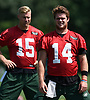 Sam Darnold #14 of the New York Jets, right, stretches with fellow quarterback Josh McCown #15 during Training Camp at the Atlantic Health Jets Training Center in Florham Park, NJ on Saturday, Aug. 18, 2018.