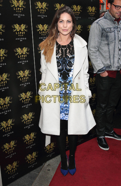 Louise Thompson<br /> Lipsy VIP Fashion Awards at DSTRKT, London, England.<br /> May 29th 2013<br /> full length white coat blue black lace pattern dress tights <br /> CAP/ROS<br /> &copy;Steve Ross/Capital Pictures