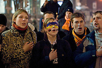 Kiev, Ukraine, 27/12/2004..The third and final round of Ukraine's disputed Presidential election. Supporters of Viktor Yuschenko celebrate in the city streets as election results indicate he has won the Presidency.