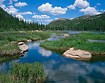 Rocky Mountain National Park, CO:  Morning clouds reflecting on Glacier Creek as it flows into Jewel Lake