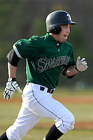 Second baseman Erik Samples (1) of the University of South Carolina Upstate Spartans runs out a grounder in a game against the Citadel Bulldogs on Tuesday, February, 18, 2014, at Cleveland S. Harley Park in Spartanburg, South Carolina. Upstate won, 6-2. (Tom Priddy/Four Seam Images)