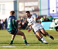 17th November 2019; The Sportsground, Galway, Connacht, Ireland; European Rugby Champions Cup, Connacht versus Montpellier; Youri Delhommel (Montpellier) holds off a challenge from Caolin Blade (Connacht) as John Porch closes in - Editorial Use