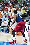 Real Madrid's player Gustavo Ayon and Barcelona's player Samuels during Liga Endesa 2015/2016 Finals 3rd leg match at Barclaycard Center in Madrid. June 20, 2016. (ALTERPHOTOS/BorjaB.Hojas)