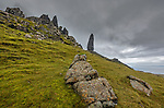 Isle of Skye, Scotland: Large boulders and grassy hillside looking up to the Old Man of Storr