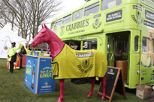 08.04.2016. Aintree, Liverpool, England. Crabbies Grand National Festival Day 2. Main sponsor Crabbie's set up at Red Rum Gardens.