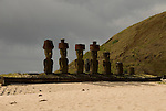 Chile, Easter Island: Anakena Beach, a white coral sand beach with palm trees and several restored moai or statues..Photo #: ch291-32740.Photo copyright Lee Foster www.fostertravel.com lee@fostertravel.com 510-549-2202