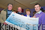 Jim Griffin, Dooks, second from left,  pictured as he received a cheque for EUR12,400 from James O'Riordan, Laune Rangers Lotto Committee in the CYMS on Sunday night. Also pictured are Pat Foley, seller and Anthony O'Connor, Killorglin Credit Union...