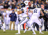 PHILADELPHIA, PA - DEC 8, 2018: Navy Midshipmen quarterback Garret Lewis (7) drops back to pass late in the fourth quarter of game between Army and Navy at Lincoln Financial Field in Philadelphia, PA. Army defeated Navy 17-10 to win the Commander in Chief Cup. (Photo by Phil Peters/Media Images International)