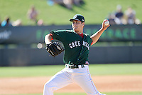 Pitcher Jalen Beeks (20) of the Greenville Drive delivers a pitch in a game against the Charleston RiverDogs on Sunday, June 28, 2015, at Fluor Field at the West End in Greenville, South Carolina. Charleston won, 12-9. (Tom Priddy/Four Seam Images)