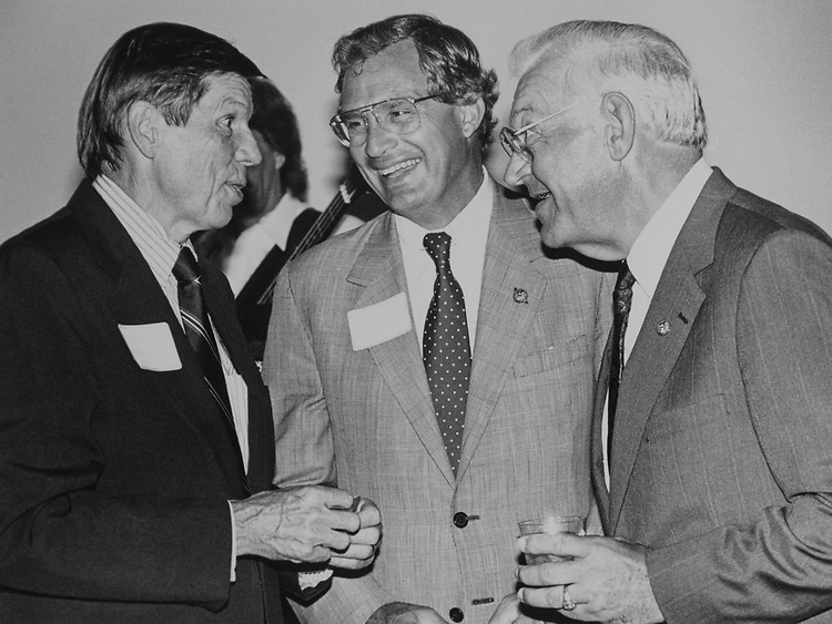 Rep. Andy Ireland, R-Fla., Rep. Porter Goss, R-Fla., and Rep. Tom Lewis, R-Fla., at Florida State Delegate Party on July 11, 1989. (Photo by Maureen Keating/CQ Roll Call via Getty Images)