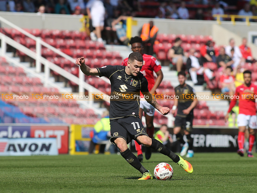 Stuart O'Keefe of MK Dons takes a shot at the Swindon goal during Swindon Town vs MK Dons, Sky Bet EFL League 1 Football at the County Ground on 8th April 2017