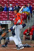 Bowling Green Hot Rods catcher Roberto Alvarez (28) at the plate during a Midwest League game against the Cedar Rapids Kernels on May 2, 2019 at Perfect Game Field in Cedar Rapids, Iowa. Bowling Green defeated Cedar Rapids 2-0. (Brad Krause/Four Seam Images)