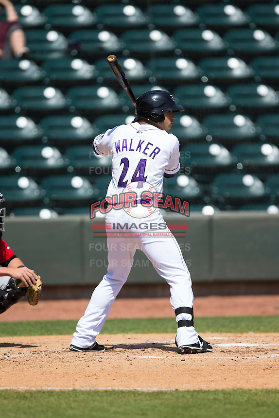 Keenyn Walker (24) of the Winston-Salem Dash at bat against the Carolina Mudcats at BB&T Ballpark on April 22, 2015 in Winston-Salem, North Carolina.  The Dash defeated the Mudcats 4-2..  (Brian Westerholt/Four Seam Images)